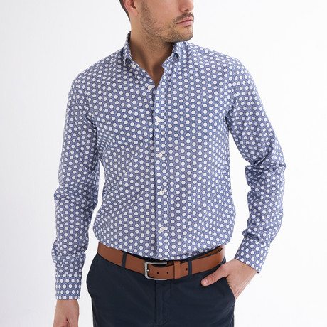 Gilberto Button-Up Shirt // White + Navy (S)