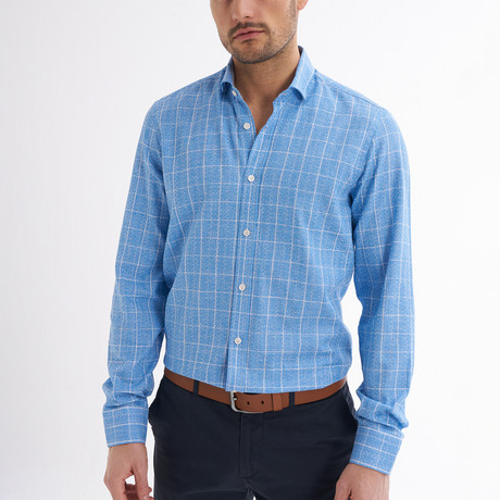 Paulo Linen Button-Up Shirt // Light Blue + White (S)