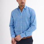 Paulo Linen Button-Up Shirt // Light Blue + White (L)