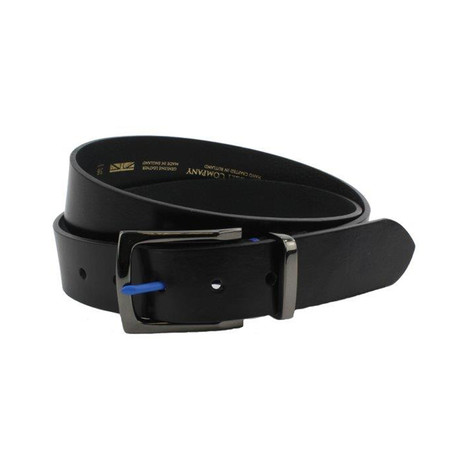 "Cohen Colored Prong Leather Belt // Black (32"")"