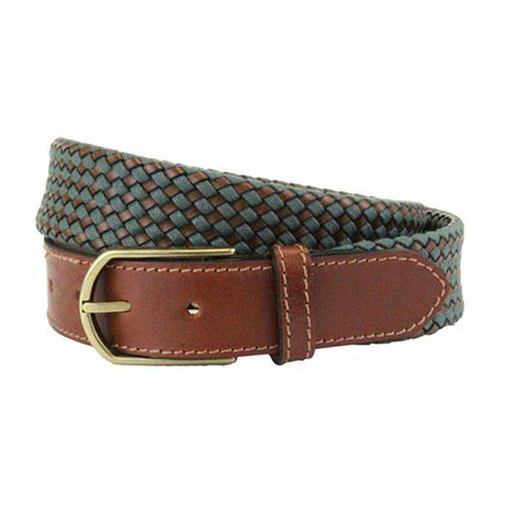 "Whitton Casual Braided Belt // Green + Tan (32"")"