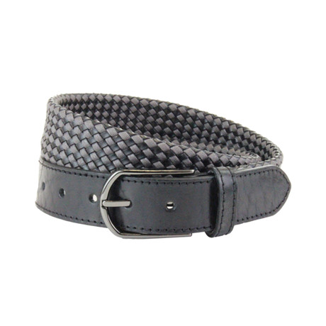 "Whitton Casual Braided Belt // Gray + Black (32"")"