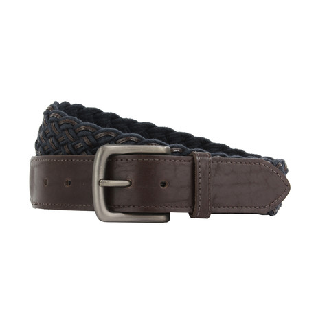 "Henry Woven Plaited Belt // Navy + Brown (32"")"
