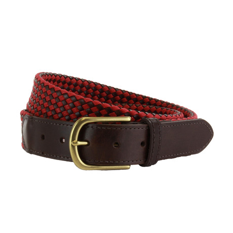 "Whitton Casual Braided Belt // Red + Brown (32"")"