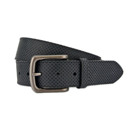 "Porter Textured Leather Jeans Belt // Black (32"")"