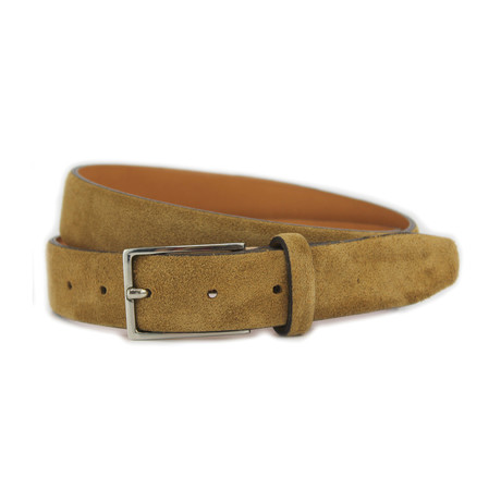 "Stratton Italian Suede Belt // Light Brown (32"")"