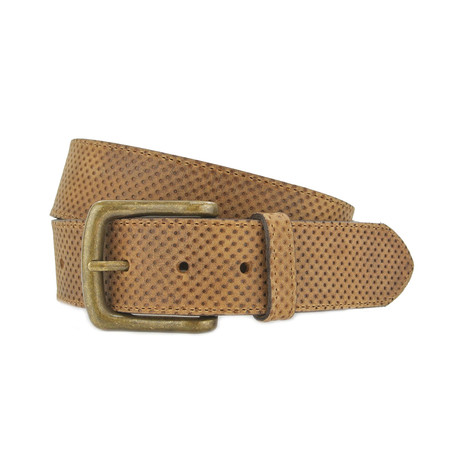 "Porter Textured Leather Jeans Belt // Tan (32"")"