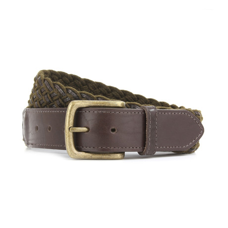 "Henry Woven Plaited Belt // Olive + Brown (32"")"