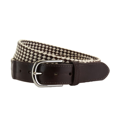 "Whitton Casual Braided Belt // Ecru + Brown (32"")"