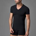 Casual V Neck Short Sleeve // Black (XS)
