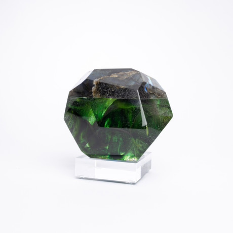 Shymmer // Madagascar Labradorite + Boiled Glass Fusion Sculpture