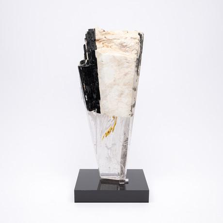 Deco // White Feldspar and Black Tourmaline + Glass Fusion faceted Sculpture