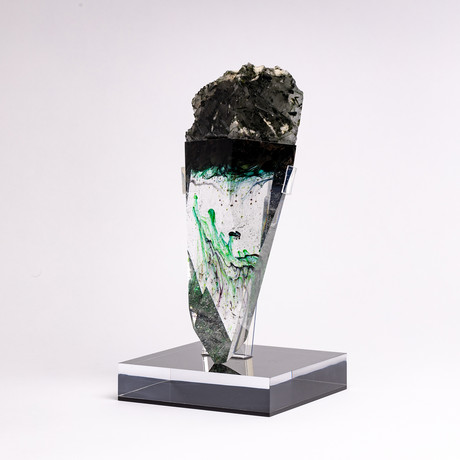 Turnmyline // Brazilian Quartz and Green Tourmaline + Boiled Glass Fusion Sculpture