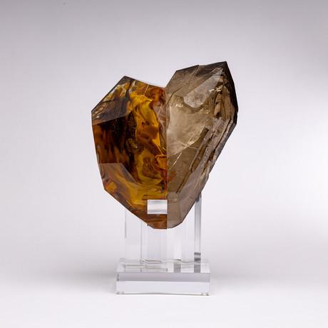 Crystal Heart // Brazilian Smoky Quartz + Boiled Glass Fusion Sculpture