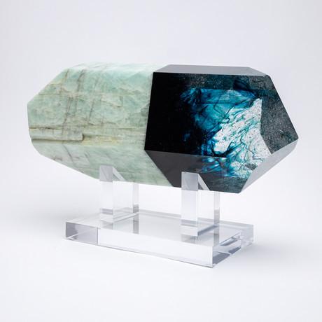 2way // Brazilian Aquamarine and Boiled Glass Fusion Sculpture