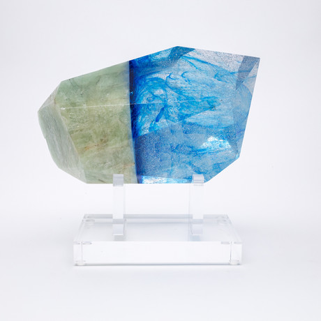 Paired // Aquamarine + Boiled Glass Fusion Sculpture