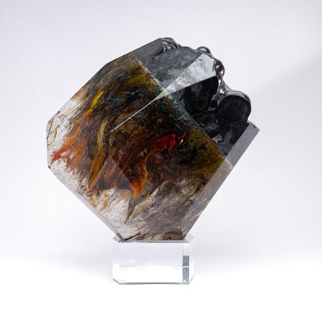 Lavah // Moroccan Hemetite + Boiled Glass Fusion Sculpture