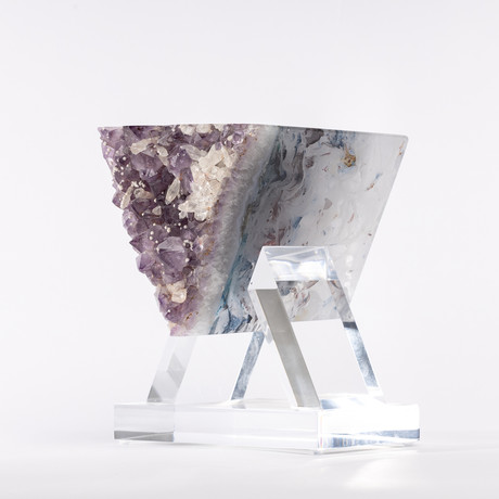 Kreematyst // Uruguayan Amethyst with Calcite + Boiled Glass Fusion Sculpture