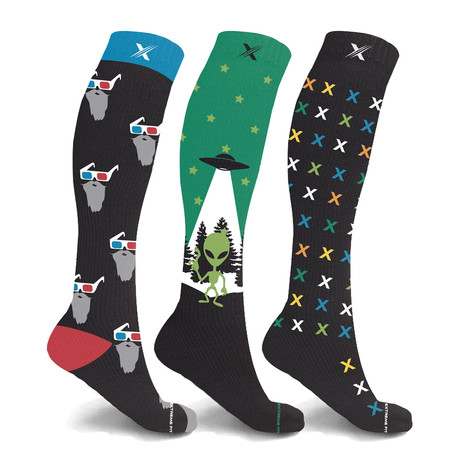UFO Glow in the Dark Knee-High Compression Socks // 3-Pairs (Small / Medium)