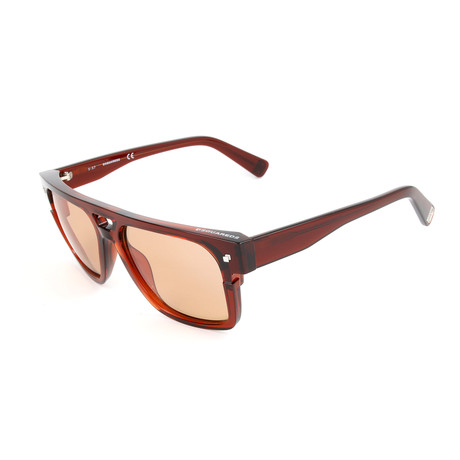 Unisex DQ0294 Sunglasses // Red + Brown Mirror