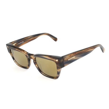 Unisex DQ0299 Sunglasses // Light Brown + Brown Mirror