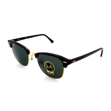 Unisex RB3016-W0366 Clubmasters Square Sunglasses // Havana Gold + Green (49MM)