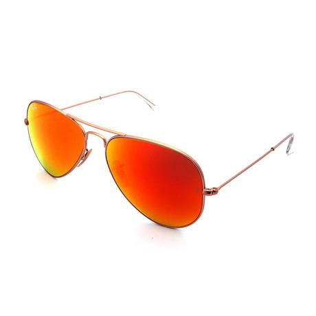 Unisex RB3025-112-69 Aviator Sunglasses // Gold + Orange Mirror (Size 58-14-135)