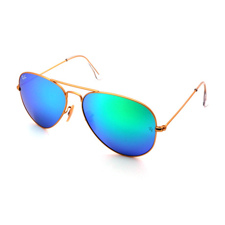 Unisex RB3025-112-19 Aviator Sunglasses // Gold + Green Mirror