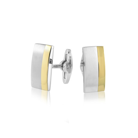 Brushed + Polished Cufflinks V1 // Gold