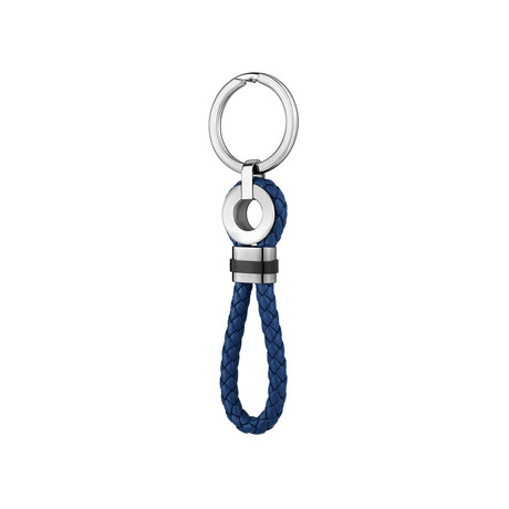 Leather + Stainless Steel Keychain // Black + Navy Blue