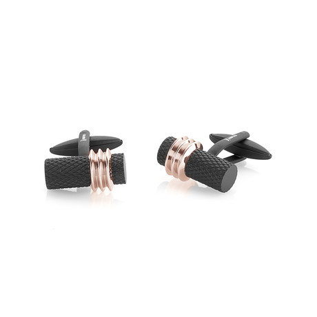 Matte Polished Cufflinks // Black + Rose