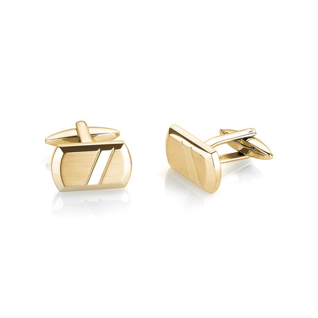 Brushed + Polished Cufflinks V2 // Gold