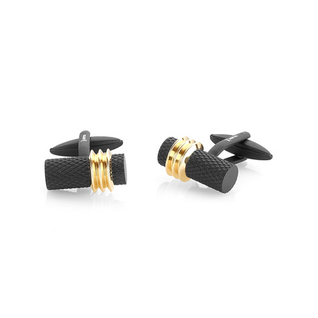 Mesh Lined Cufflinks // Black + Gold
