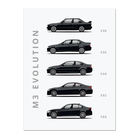 """M3 // Car Poster (12""""L x 16""""W x 0.5""""H)"""