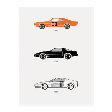 "Amped Up Autos // 80s TV Poster (12""L x 16""W x 0.5""H)"
