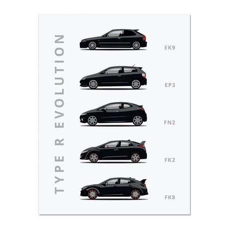 """Civic Type- R // Car Poster (12""""L x 16""""W x 0.5""""H)"""