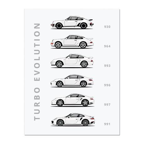 """911 Turbo // Car Poster (12""""L x 16""""W x 0.5""""H)"""