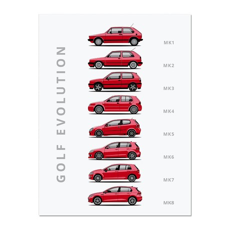 """Golf // Car Poster (12""""L x 16""""W x 0.5""""H)"""