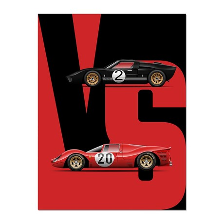 """Battle of the Heavyweights // Ford vs. Ferrari (12""""L x 16""""W x 0.5""""H)"""