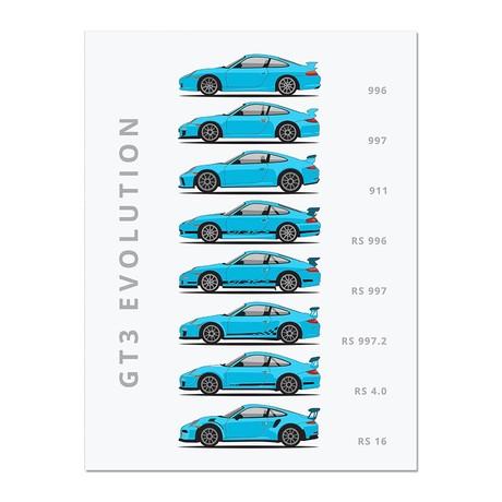"""911 GT3 // Car Poster (12""""L x 16""""W x 0.5""""H)"""