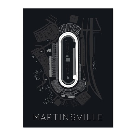 """The Paperclip // Martinsville Speedway Race Track Poster (12""""L x 16""""W x 0.5""""H)"""