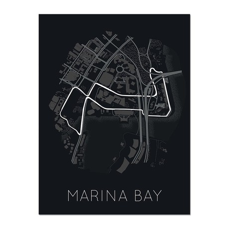 "Rhythm of the Night // Marina Bay Street Circuit (12""L x 16""W x 0.5""H)"