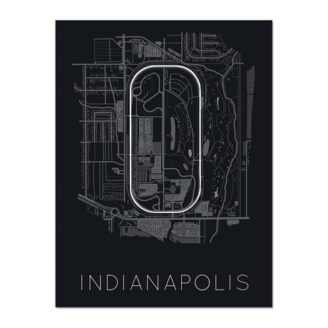 """The Brickyard // Indianapolis Motor Speedway Race Track Poster (12""""L x 16""""W x 0.5""""H)"""