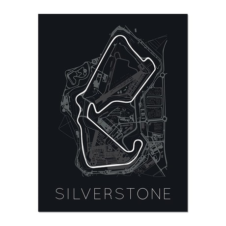 """The Blueprint of Velocity // Silverstone Circuit Poster (12""""L x 16""""W x 0.5""""H)"""