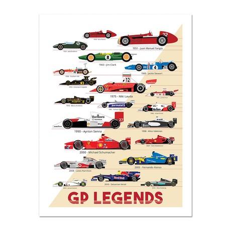 """Racing Greats // GP Legends Poster (12""""L x 16""""W x 0.5""""H)"""