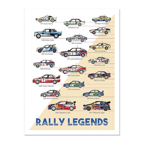 """Rally Legends // The Trackmasters (12""""L x 16""""W x 0.5""""H)"""