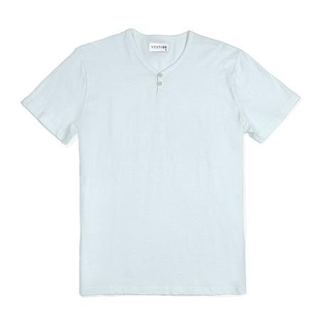 Notch Short Sleeve Henley // Light Blue (S)