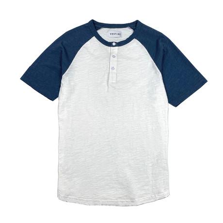 Color Block Short Sleeve Henley // Denim Blue (S)
