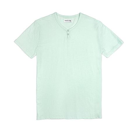 Notch Short Sleeve Henley // Light Green (S)