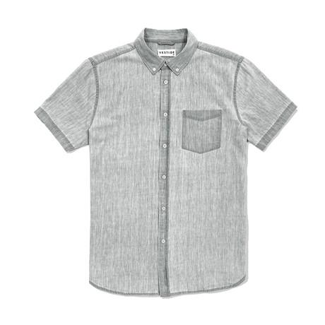 Denim Shirt Short Sleeve Button Down Shirt // Light Gray (S)